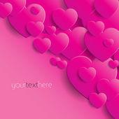 Fond coeurs roses - carte de la saint-valentin — Vecteur