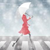 Jeune fille traversant la rue dans la neige — Vecteur