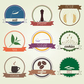 Kitchen and Restaurant Labels Set  vector illustration eps10 — Vettoriale Stock