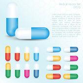Красочные таблетки — Cтоковый вектор