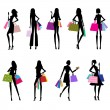 Silhouettes of Women Shopping - vector eps10 — Stock Vector