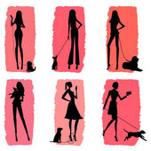 Women and Dogs - Silhouettes With Coral Background — Stock Vector