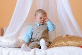 Little boy looks tired — Stock Photo