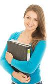 Bela estudante com uma pasta — Fotografia Stock