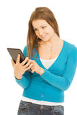 Beautiful woman with tablet — Stock Photo