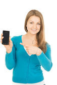 Woman and phone — Stock Photo