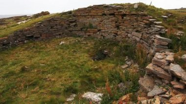 The Broch Of Burrian, Orkney, Scotland. The remains of a neolithic residence on the Island of North Ronaldsay, the most northern Isle of Orkney — Stock Video