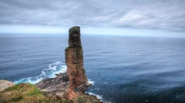 The Old Man of Hoy, a sea stack on the Island of Hoy, Orkney Islands, Scotland — Stock Video