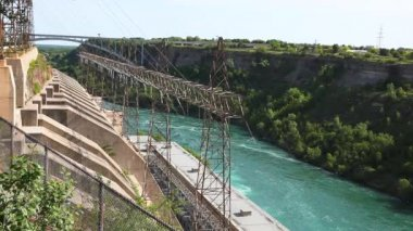 Power lines from water generating station at Niagara River, Canada — Stock Video