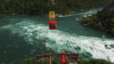 The aero car ride over the Whirlpool Rapids, Niagara Falls, Canada — Vidéo