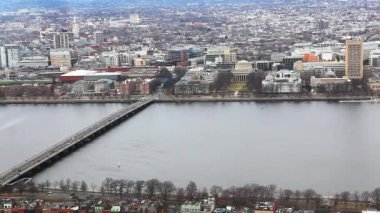Aerial view of the city of Boston, Massachusetts along the Charles River — Stock Video