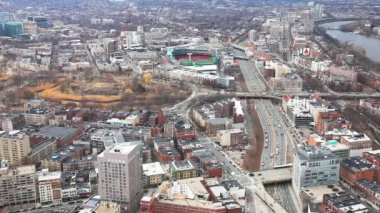 A wide aerial of the city of Boston, Massachusetts with Fenway in background — Stok video