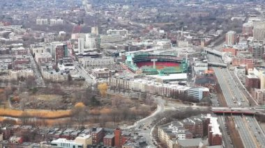 An aerial of the city of Boston, Massachusetts with Fenway in background — Stock Video