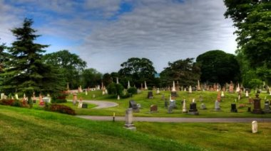 A blue sky timelapse view in a cemetary — Stock Video