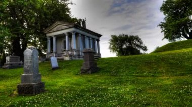 Timelapse view in a cemetary with mausoleum — Stock Video