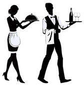 Silhouette waiters — Stock Vector