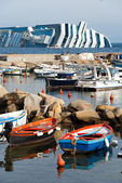 Sinking cruise ship Costa Concordia, — Stock Photo
