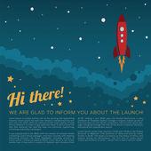 Rocket launch in space vector background — Stock Vector