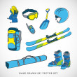 Ski icons vector set — Stok Vektör #40298997