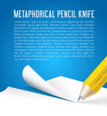 Abstract vector background metaphorical pencil knife — Stock Vector