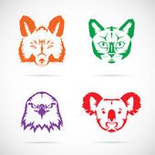 Animal faces vector icons set — Stockvektor
