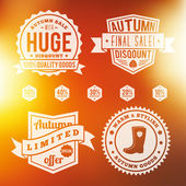 Autumn sale vintage badges set with autumn background — Stock Vector