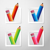 Color pencils check box vector — Vettoriale Stock