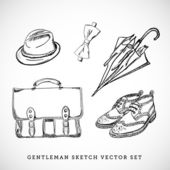 Gentleman sketch vector set — Stock Vector