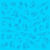 Hand drawn ski seamless pattern — Stock Vector