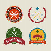 Sausage badges vintage vector set — Stock Vector