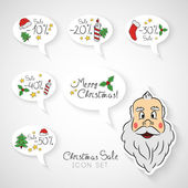 Hand drawn Christmas sale icon set — Stok Vektör