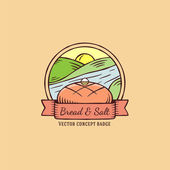 Bread and Salt hand drawn vintage vector badge — Stock Vector