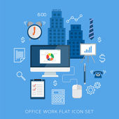 Office work flat vector icon set — Stock Vector