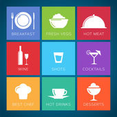 Bar and restaurant flat style vector icon set — Stock Vector