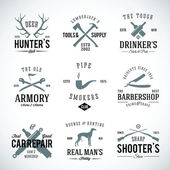 Set of Vintage Labels With Retro Typography for Men's Hobbies Such as Hunting Arms Dog Breeding Car Repair etc — Stock Vector