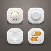 Buttons and Switches Set With Realistic Light and Shadows — Stock Vector
