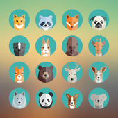 Animal Portraits Icon Set in Flat Style With Abstract Background — Stock Vector