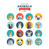 Flat Style Animals Avatar Vector Icon Set — ストックベクタ