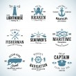 Set of Vintage Nautical Labels and Signs With Retro Typography Anchors Steering Wheel Knots Seagulls Wale — Stock Vector #49696403