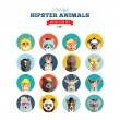 Flat Style Hipster Animals Avatar Vector Icon Set for Social Media or Web Site — Stock Vector #49696409