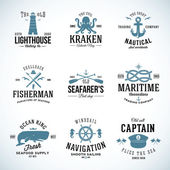 Set of Vintage Nautical Labels and Signs With Retro Typography Anchors Steering Wheel Knots Seagulls Wale — Vecteur