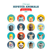 Flat Style Hipster Animals Avatar Vector Icon Set for Social Media or Web Site — Stok Vektör