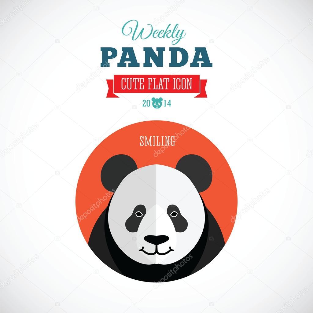 每周熊猫可爱的平动物图标-微笑在分离背景– 图库插图