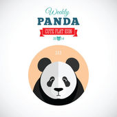Weekly Panda Cute Flat Animal Icon - Sad — Stock Vector