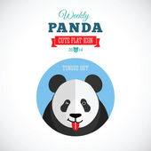 Weekly Panda Cute Flat Animal Icon - Tongue Out — Stock Vector