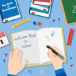 Back to School Flat Style Vector Background With Books Pencils Pen and Other Stationary — Vecteur #51470239