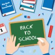 Back to School Flat Style Vector Background With Chalk Blackboard Pins Clips Pen Pencil and Books — Stock Vector