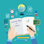 Back to School Flat Style Vector Icon Set Books Pencils Pen and Other Stationary — 图库矢量图片