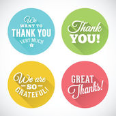 Thank You Abstract Vector Flat Style Badges or Icons — Stock vektor