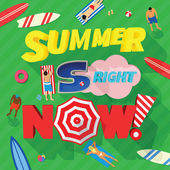Summer is Right Now Abstract Vector Card or Typography Background — Stock Vector